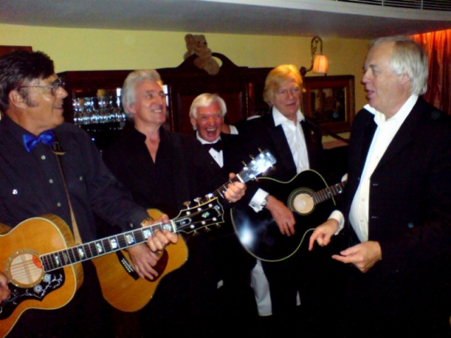 The SODS Supergroup - Marty Wilde, Bruce Welch, King Sod Bill Martin, Justin Hayward and lead singer Sir Tim Rice.