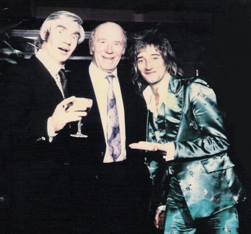 Sir Matt busby and Rod Stewart